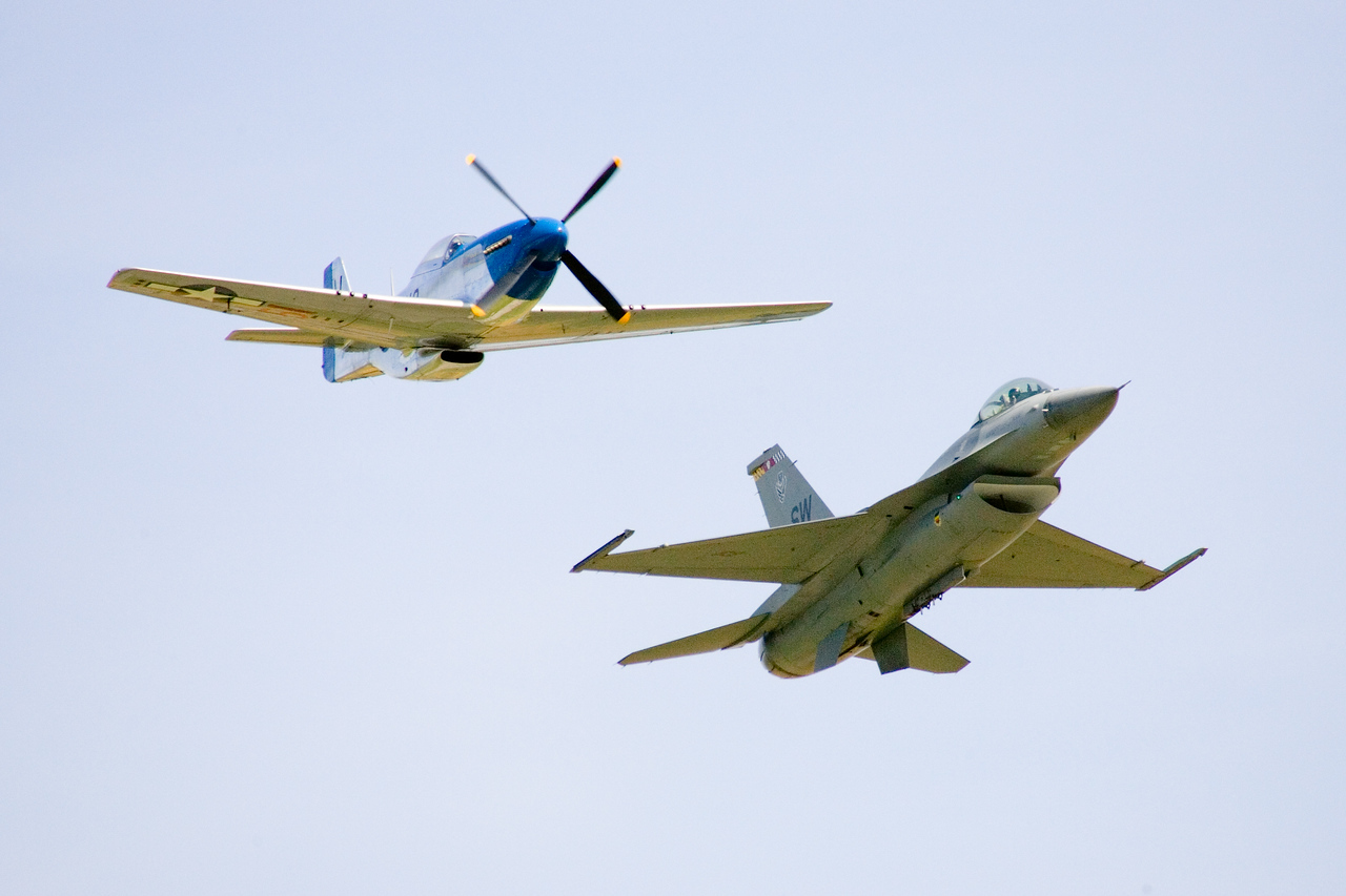 P-51  and  an F-16