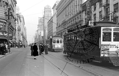 Market st at Powell, View East to Ferry Building