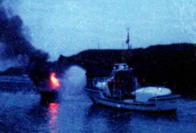 Fire fighting drill, Noyo Harbour, Fort Bragg, Ca.