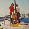 "The new boat ""Dream Weaver"" in it's permanent slip in Alameda Yacht Harbor November 1975, John, Sue, Jeff (3), and Janiece (5)"