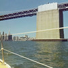 The massive tower of the Bay Bridge. Current would flow at 6 knots depending on the tide.