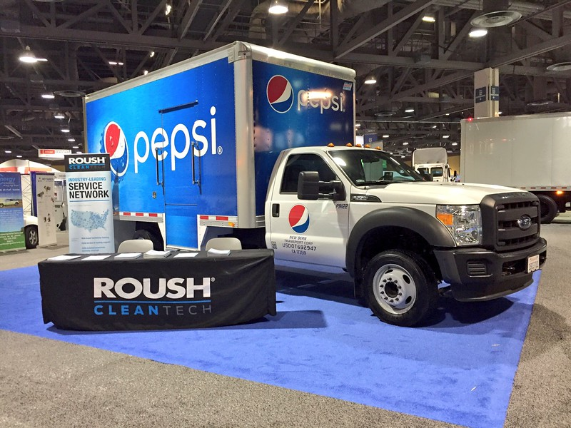 A Pepsi Ford F-550 beverage delivery truck equipped with ROUSH CleanTech propane autogas fuel technology.