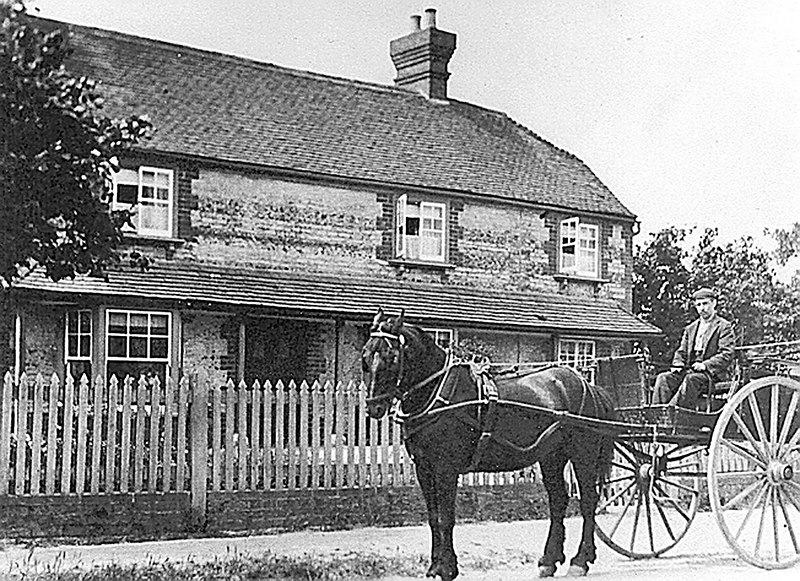 <font size=3><u> - Pony and Trap - 1890s </u></font> (BS0272)  Nythe Cottage - Grandfather George Joseph. Horse called Star.  The horse died from eating yew cuttings from St. Helen's churchyard.     Same cart as Great Grandmother used to go to market in Wallingford.