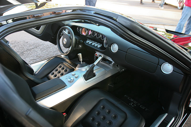Cockpit of the Ford GT - this one has gull wing doors!