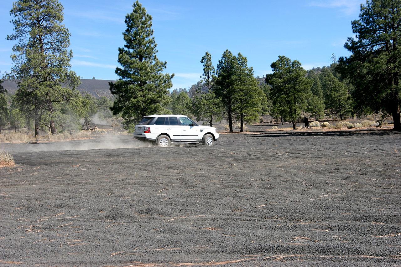 Umberto rev's it up and cruises across the cinder fields near Flagstaff, AZ
