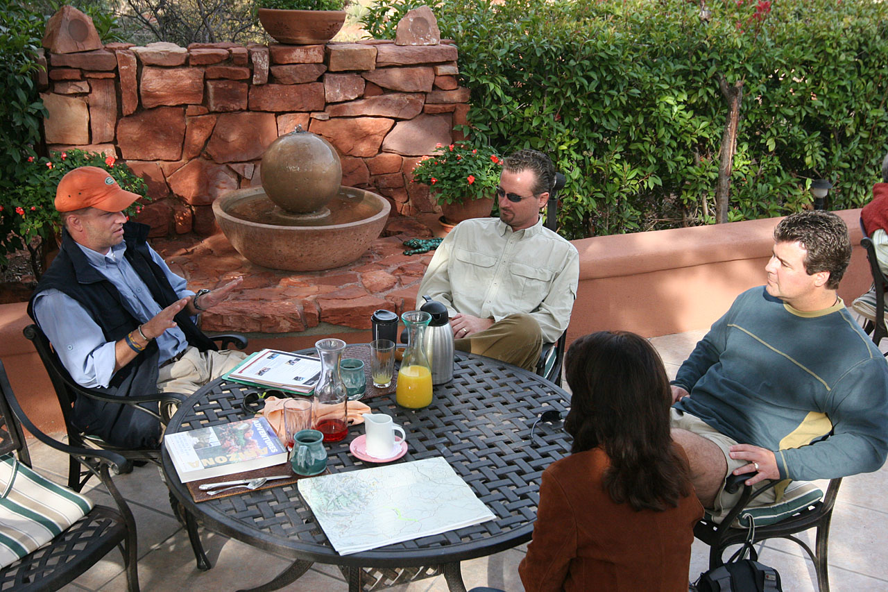 """Our """"Classroom"""" at Casa Sedona.  Adam Spiker on far left, Umberto B. in the middle, and Bob and Susanne E. listening attentively."""