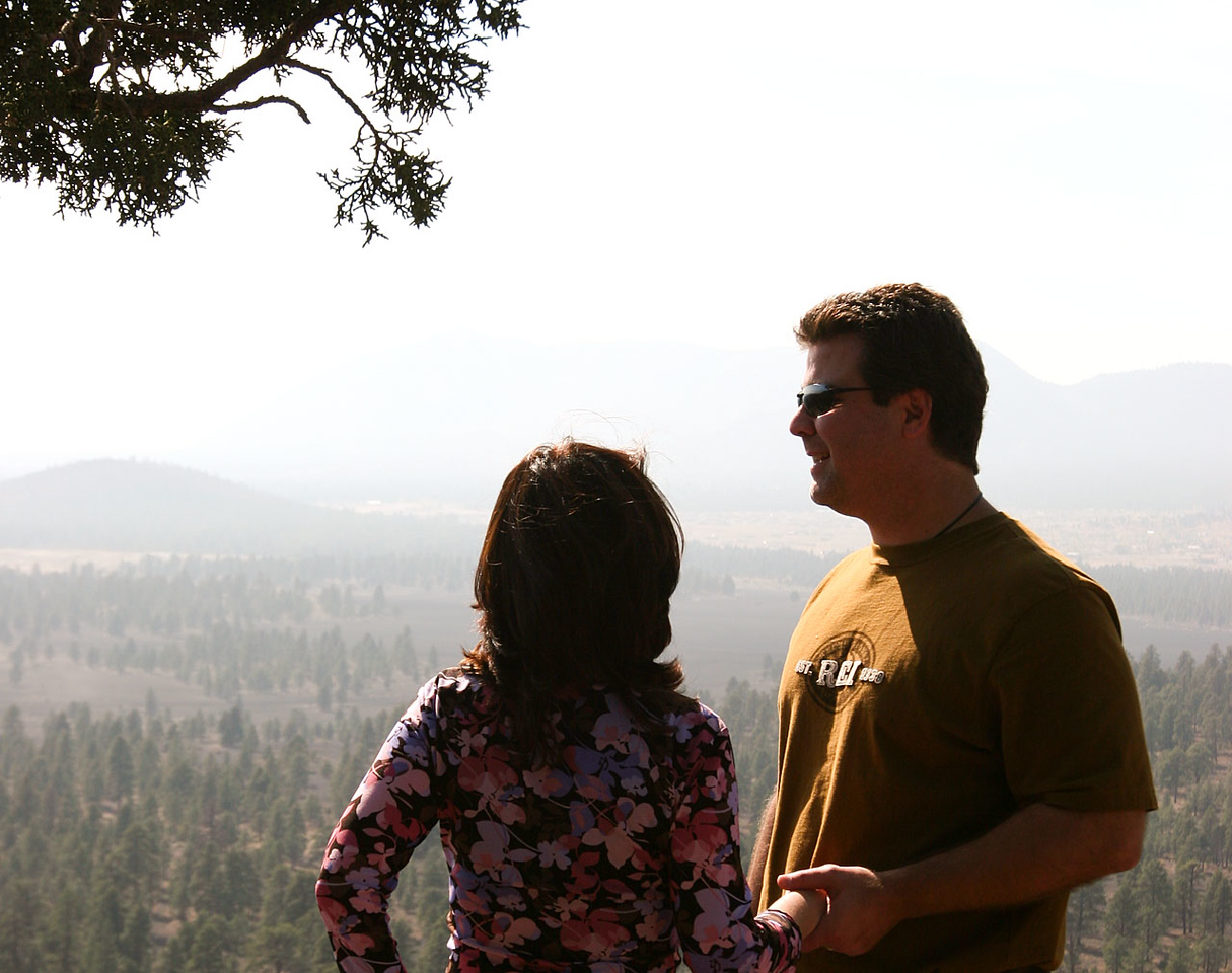 Bob and Susanne share a moment on top of one of the volcanoes.