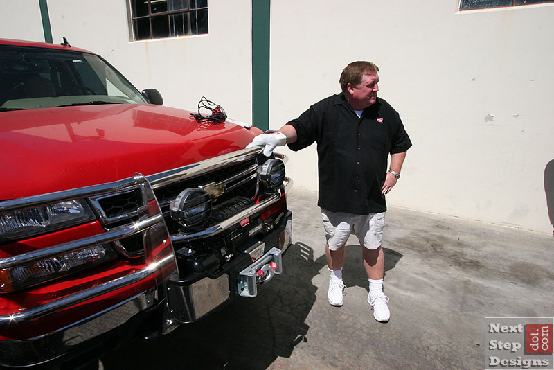 Scott and his huge Chevy 2500HD and custom built winch bumper.  It dwarf's the new PowerPlant winch and compressor combo.