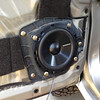 """New door speakers. I used 5 1/2"""" due to depth issues.  Drill new holes in the plastic housing, and you are good to go."""