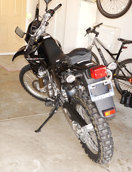 400cc single cylinder, 32 hp, watercooled dual-sport motorcycle.