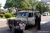 Unloading the Land Rover at sir Seretse Khama airport.