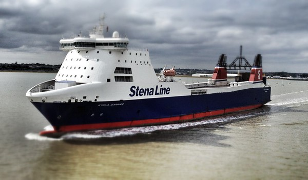 Stena Carrier leaving Harwich Docks, Suffolk.