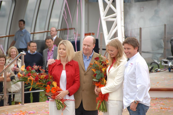 "Jemma & Jodie Kidd with Chef James Martin and Carnival executive at launch of ""Ocean Village Two"" - 24th April, 2007."