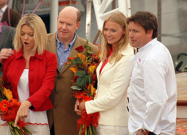 "Jemma & Jodie Kidd with Chef James Martin and Carnival executive at launch of ""Ocean Village Two"" - 24th April 2007."