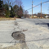 This pothole is on the corner of Second Ave. and Mechanic Street in Leominster. SENTINEL & ENTERPRISE/JOHN LOVE