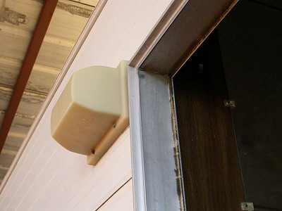 The switch for the outside light and the step light is just inside near the top.