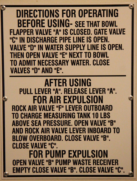 Instructions for operating the toilet on USS Albacore.