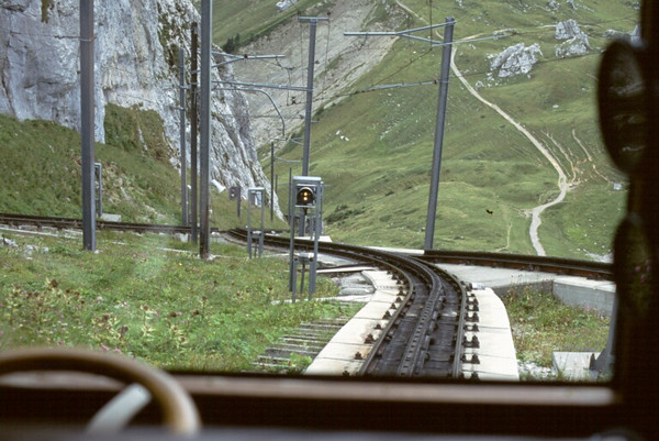 Looking down the track from the top of the Pilatus Railway, Switzerland.