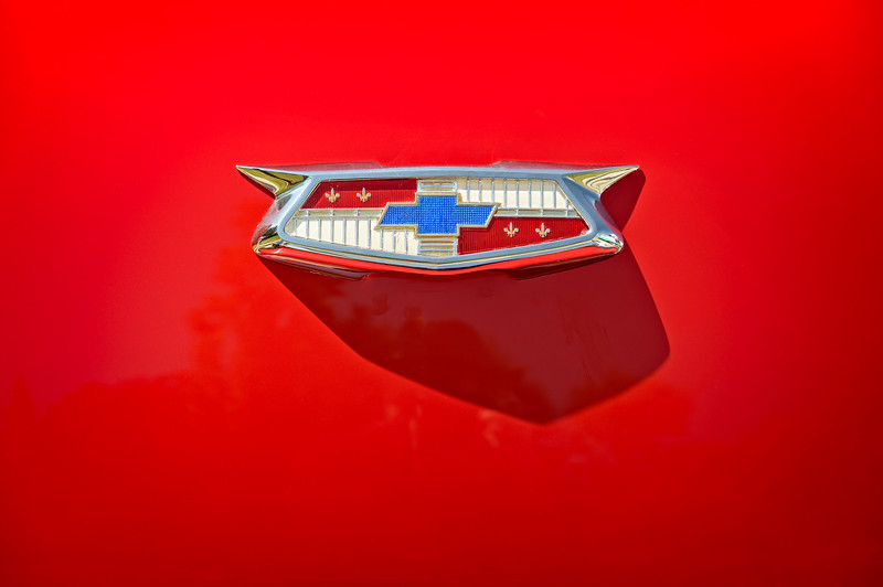 Chevrolet Emblem on a 55 Chevy Trunk