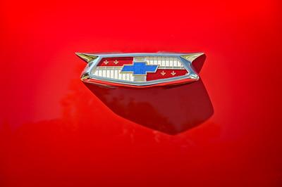Chevrolet Emblem on a 55 Chevy Trunk