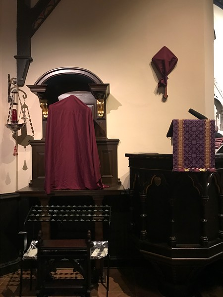 Shrine of the Sacred Heart veiled, and pulpit crucifix