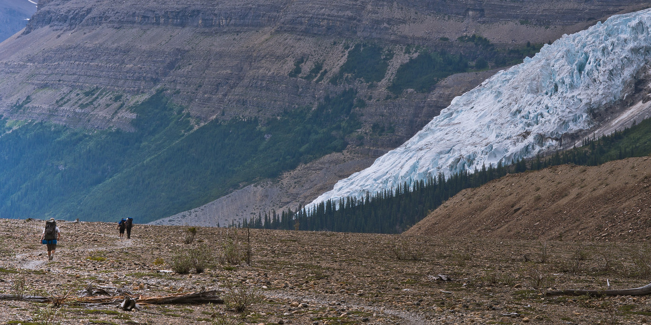 Hikers and Mist glacier
