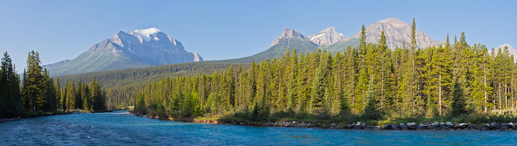 Mt Temple, Mt Fairview & Bow river, Lake Louise