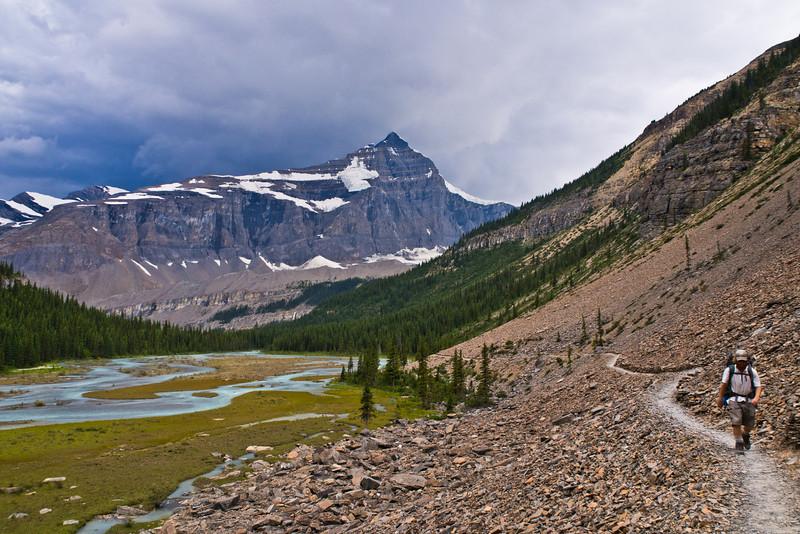 Hiker on Berg Lake trail