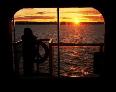 Coucher de soleil sur le Nordik Express