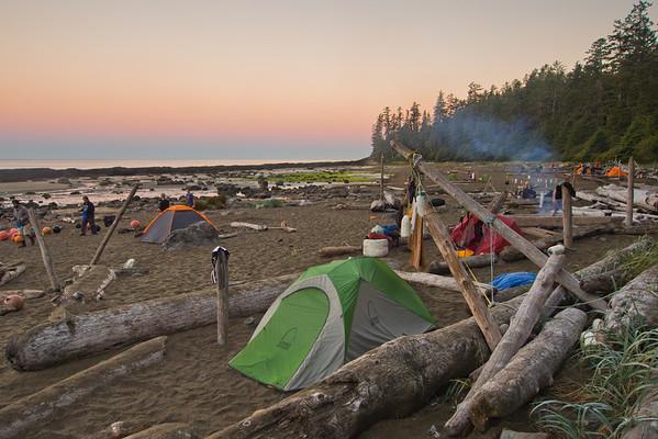 Morning at Cribbs campsite