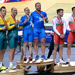July 25, 2014 - The Medal Ceremony for the Men's Para-Sport 1000m Time Trial B Tandem Final during the Track Cycling at the 20th Commonwealth Games in Glasgow, Scotland.