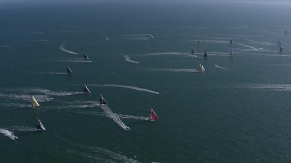 Boris Herrmann and Seaexplorer Yacht Club de Monaco on the 2020/2021 Vendée Globe start - Aerial footage