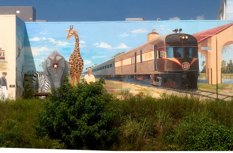 #3 Circus Mural with train at the train station. Once was for real for the Barnum and Bailey Circus.