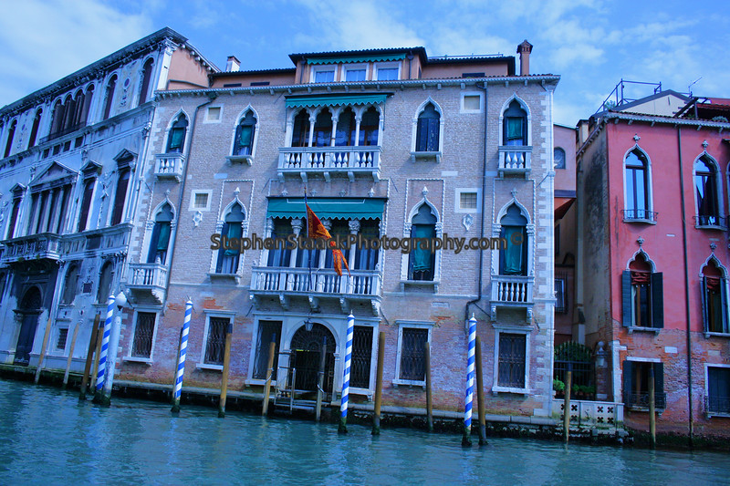 More colorful buildings along Venice's Grand Canal.