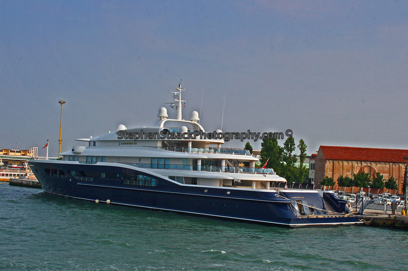 A large yacht tied off along the Grand Canal.
