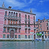 Colorful buildings seen along Venice's Grand Canal.
