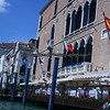 Stylish boat piers are found along restaurants along the Grand Canal in Venice, Italy.