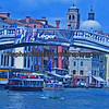 A busy day along the Grand Canal waterway in Venice.