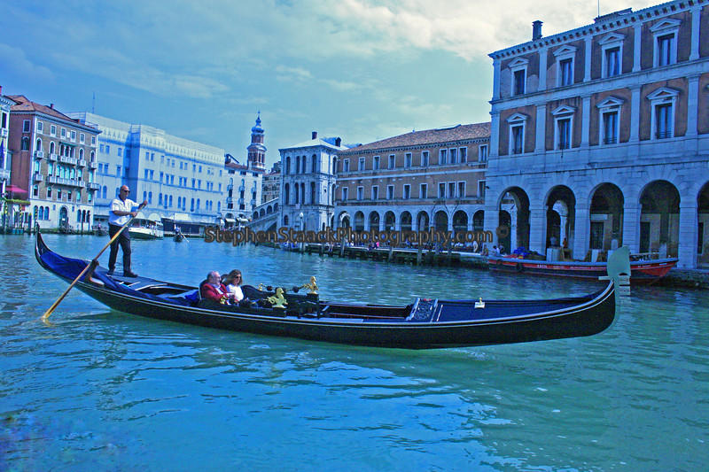 Gondolas transport people throughout Venice's canal system.