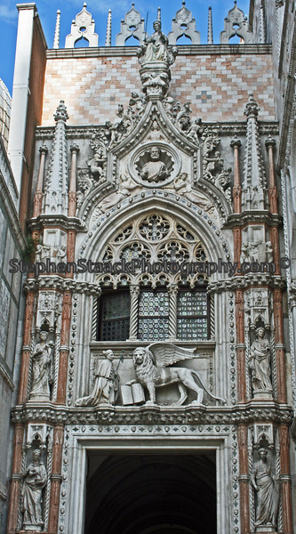 This beautiful architectural detail of Doge's Palace was photographed in Venice, Italy.