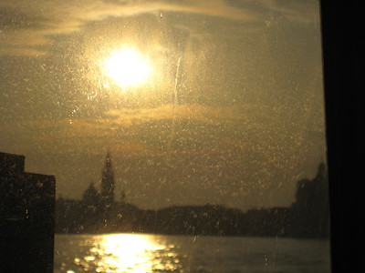 View of the Grand Canal shortly after sunrise from the back of a vaporetto.