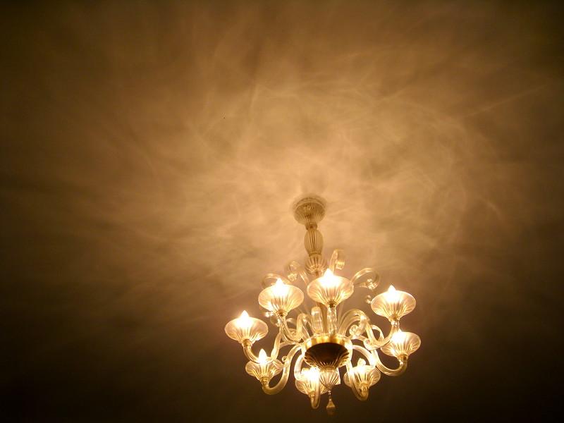 Murano glass chandelier in a Castello apartment.