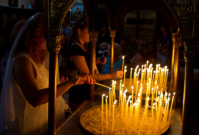 Corfu Monastery Lighting Candles