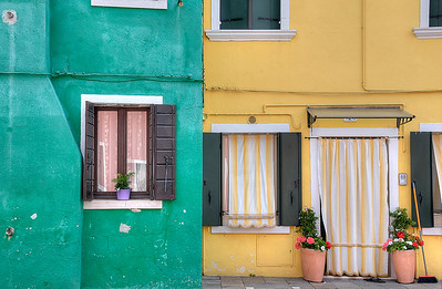 Green yellow houses of Burano