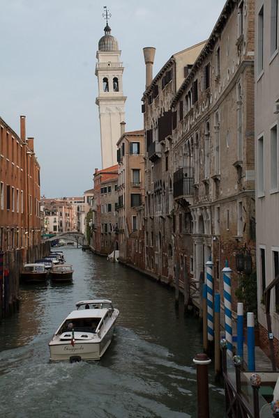 Rio dei Greci. (Leaning) belltower of San Giorgio dei Greci.