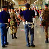 Police officers and soldiers patrol the railway station in Venice
