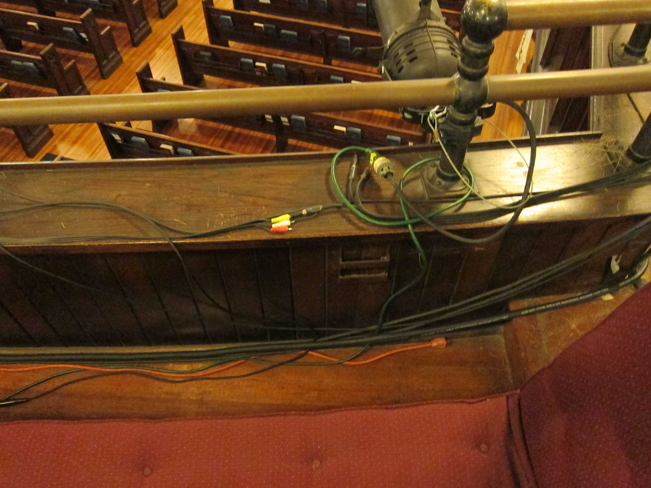Broadway Presbyterian Church_2013-10-04_4335_tangle of wires near balcony row A on audience right