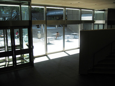 Double glass doors leading from Sanctuary to outdoor Citicorp plaza.