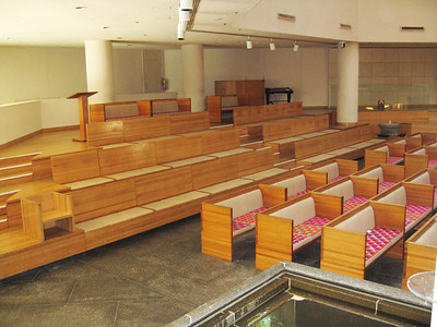 Pews behind the center seating section (67 seats)