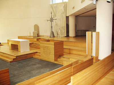 Altar seen from just inside doors leading from the stairs to the Sanctuary